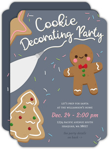 Frosted Cookie Decorating Holiday Party Invitation