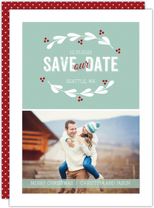 Red and White Wreath Christmas Save The Date Announcement