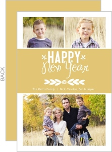Floral Modern Gold Band New Years Card