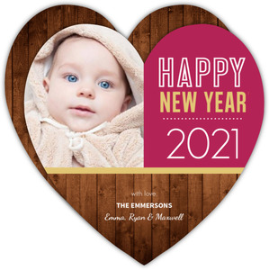 Rustic Heart Shaped New Years Photo Card