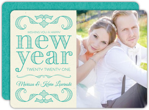 Classy and Elegant Turquoise New Years Photo Card