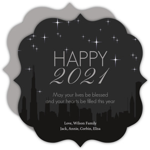 City Skyline New Years Greeting Card