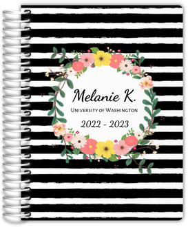 Black And White Stripes Floral Student Planner