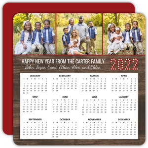 Woodgrain Three Photo New Years Calendar
