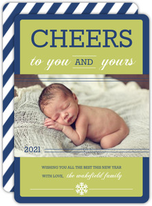 Blue and Green Cheerful New Years Card