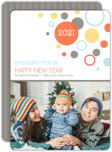Bubbly Blue and Gray New Years Photo Card
