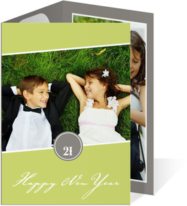 Green and Gray Monogram New Years Photo Card