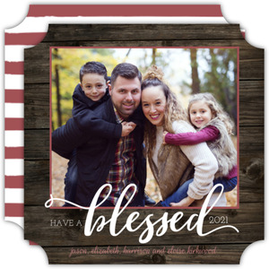 Blessed Woodgrain New Years Photo Card