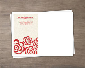 Red Flowers Winter Holiday Wedding Envelope