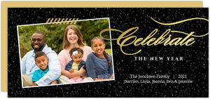 Gold and Black Elegant Shine New Years Photo Card