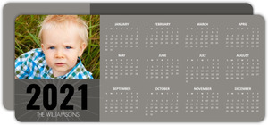 Gray Block Calendar New Year Card