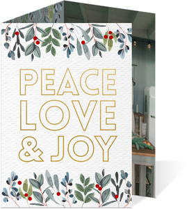 Modern Greenery & Faux Foil New Years Card