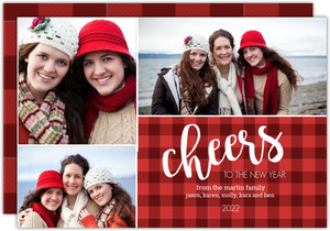 Red Plaid New Years Cheer Multiphoto Card