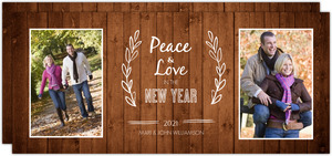 Simple Rustic New Year Photo Card