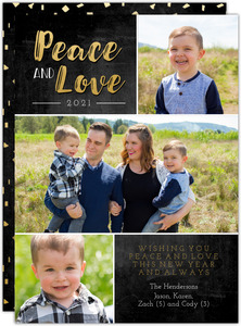 Peace and Love New Years Multi Photo Card