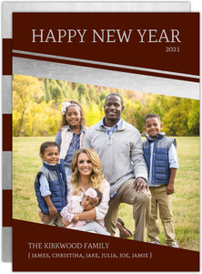 Silver Foil Angled Frame New Years Card