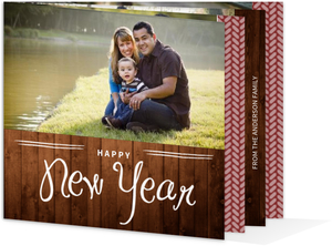 Wood Grain New Year Booklet Cards