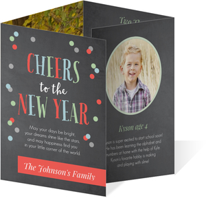 Chalkboard & Confetti Calendar New Year Card