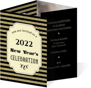 Gold Glitter Art Deco New Years Eve Invitation