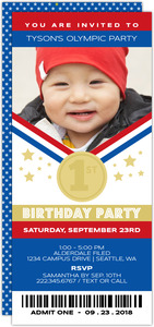 Patriotic Olympic Medal Ticket Party Invitation