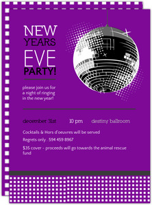 Purple Disco Party New Years Invitation