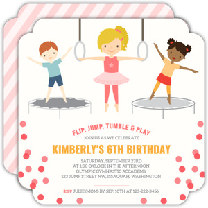 Pink Gymnastics Kids Birthday Party Invitation