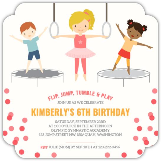 Pink gymnastics kids birthday party invitation kids birthday pink gymnastics kids birthday party invitation filmwisefo