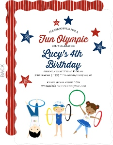 Olympics Fun Kids Party Invitation