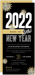 Black and Gold Fireworks New Year s Party Invitation