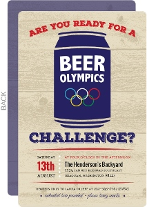 Rustic Beer Onlympics Challenge Party Invitation