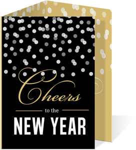 Gold Confetti New Years Party Invitation