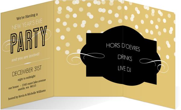 Gold Confetti New Years Party Invitation