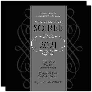 black formal new years soiree invite