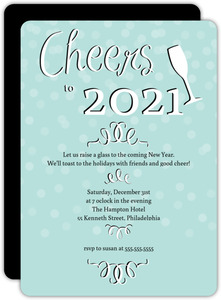 Pale Blue Black and White New Years Invitation