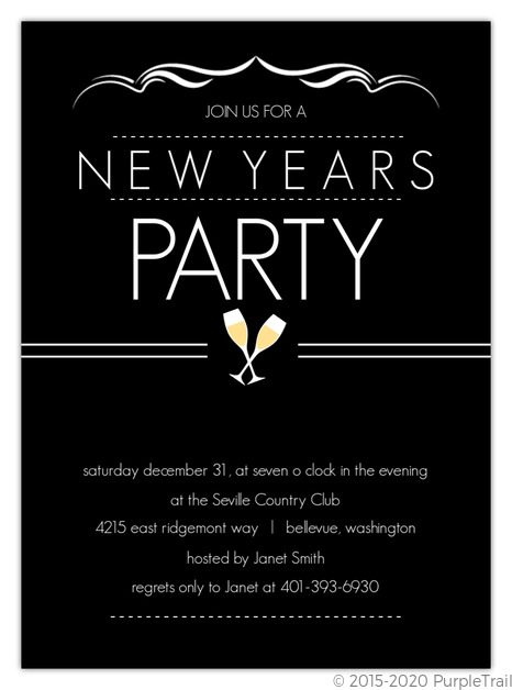 Elegant black new years party invite new years eve for Terrace new year party