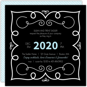 Whimsical Frame New Years Party Invitation