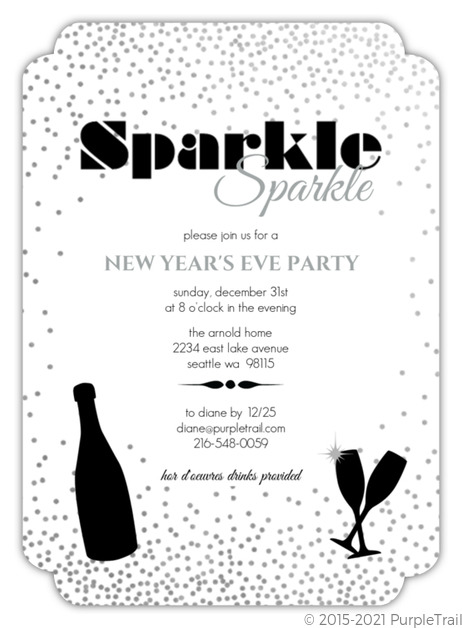 Gray Sparkle New Years Party Invitation