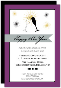 champagne toast new year party invitation