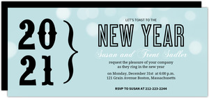 Light Blue New Year Party Invitation