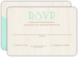 Mint & Rustic Woodgrain Wedding Response Card