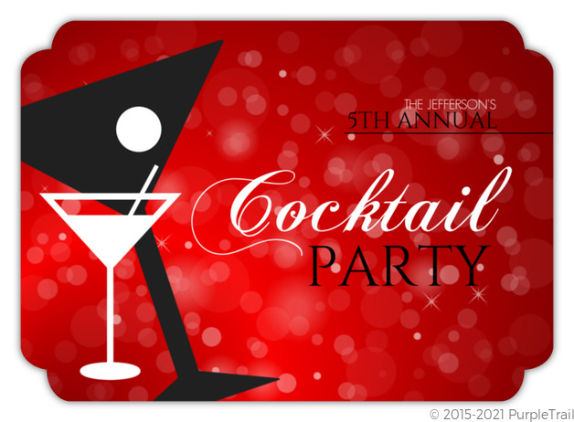 Red Martini New Year s Party Invitation
