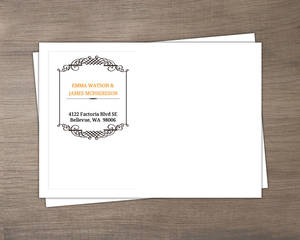 Black and White Filigree Border Halloween  Wedding Envelope