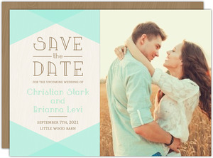 Mint & Rustic Woodgrain Save The Date Card