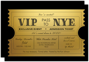 Vip Golden Ticket New Years Party Invitation