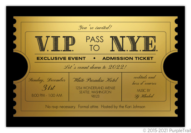Vip Golden Ticket New Years Party Invitation New Years Eve Invitations