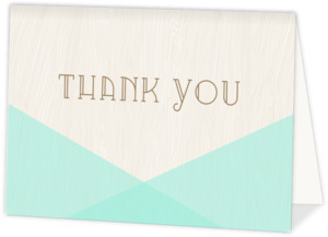 Mint & Rustic Woodgrain Wedding Thank You Card