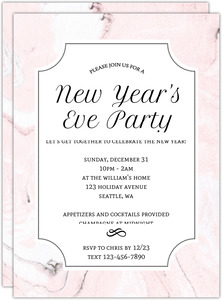 Elegant Pink Marble New Years Party Invitation