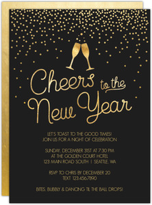 Gold Champagne Glasses New Years Party Invitation