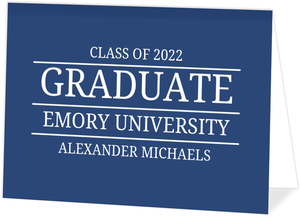 Simple Blue Lined Typography Graduation Invitation