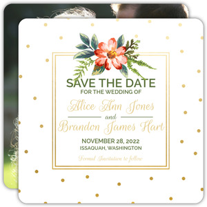 Gold Polka Dot Save The Date Announcement